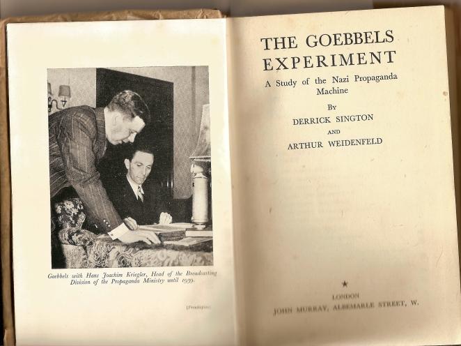 Derrick Sington Arthur Wiedenfeld The Goebbels Experiment