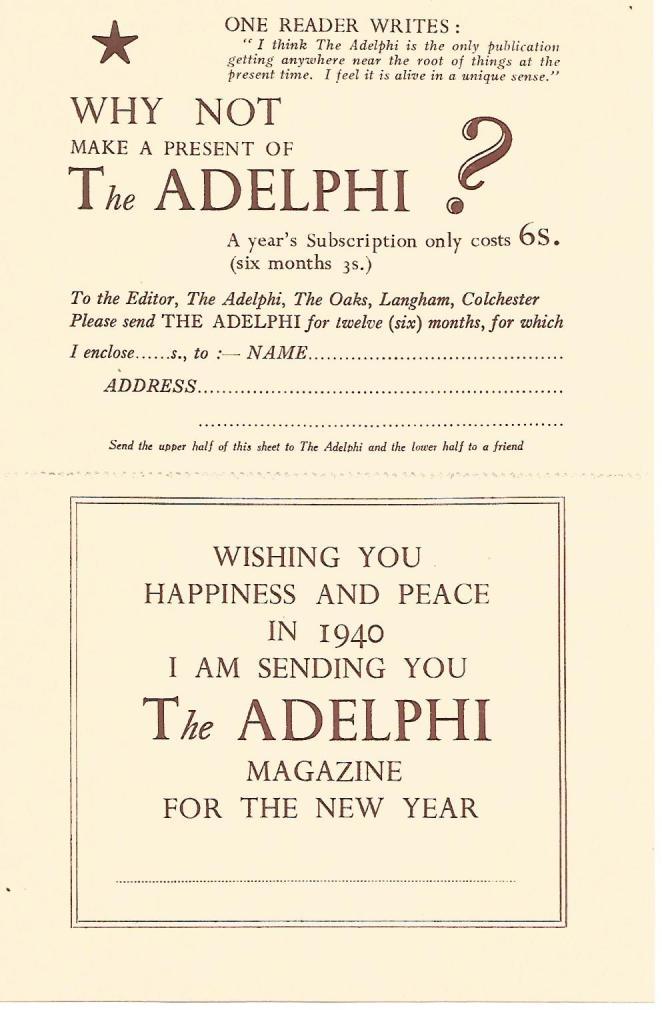Adelphi 1939 renewal