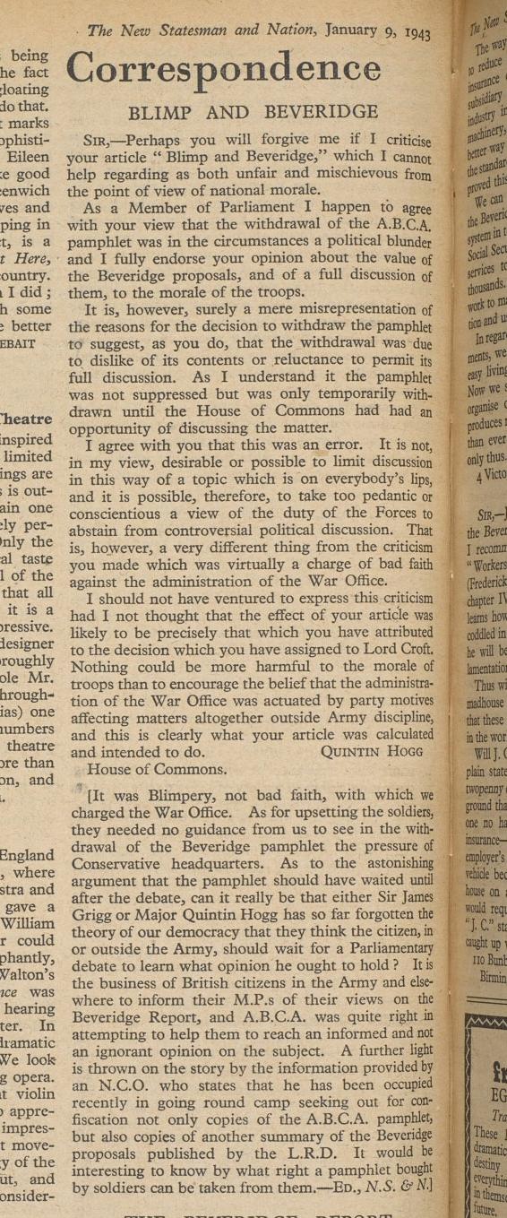New Statesman Quintin Hogg letter Jan 1943